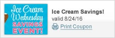 Ice Cream Wednesday Savings Event