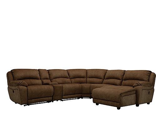 Cindy crawford mackenzie 6 pc microfiber reclining for 6 piece microfiber sectional sofa